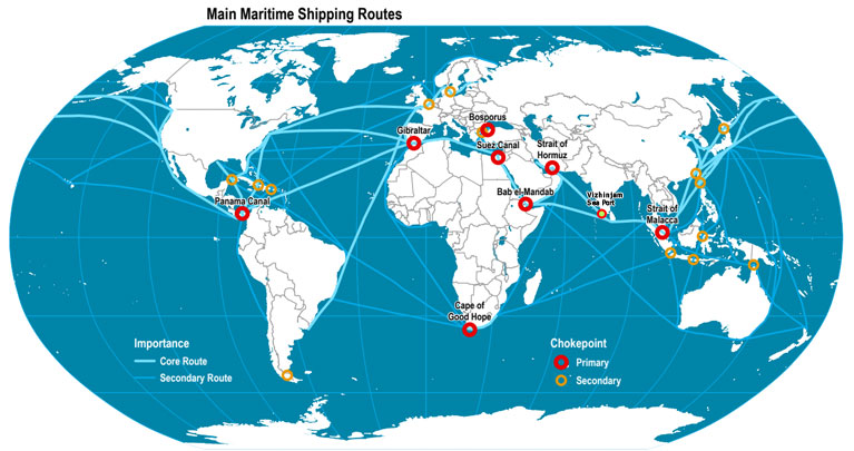 Maritime Shipping sea route map which are aligned to Vizhinjam transhipment port.